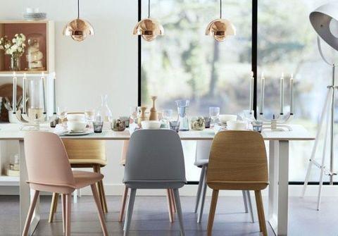 Room, Product, Wood, Interior design, Furniture, Table, White, Floor, Interior design, Lampshade,