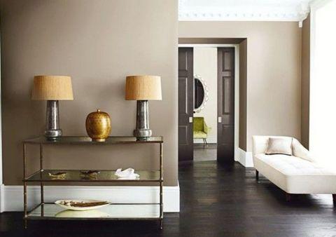 Room, Interior design, Wood, Wall, Floor, Bed, Lampshade, Lamp, Interior design, Grey,