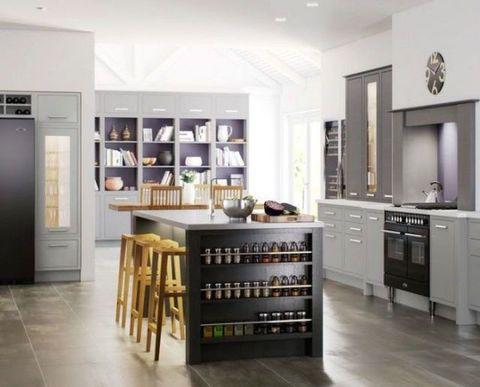 Floor, Room, Interior design, Flooring, Cupboard, Ceiling, Countertop, Cabinetry, Drawer, House,