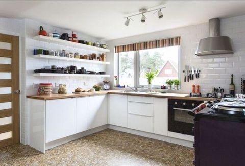 Room, Interior design, Wood, Floor, White, Ceiling, Kitchen, Light fixture, Interior design, Kitchen appliance,