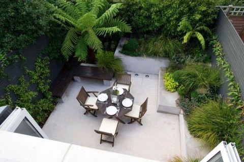Property, Garden, Shrub, Real estate, Terrestrial plant, Outdoor furniture, Roof, Backyard, Courtyard, Yard,