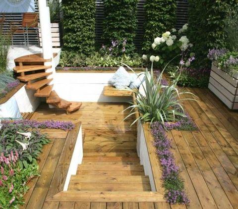 Wood, Plant, Garden, Hardwood, Flower, Shrub, Wood stain, Purple, Deck, Backyard,