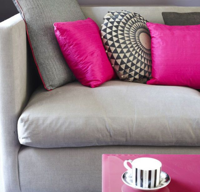 Take A Neutral Sofa In A Bright New Direction With A Set Of Fuchsia  Cushions. Contrast Is The Key To Success U2013 Vibrant Pink Stands Out Against  A Mid Tone ...