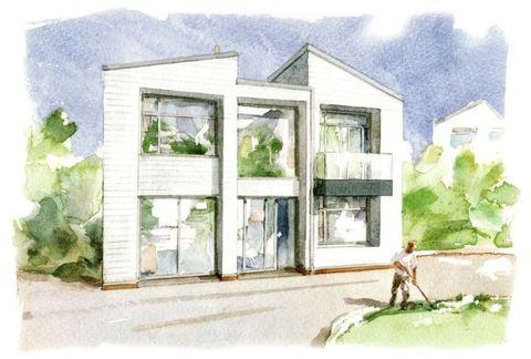 Green, Neighbourhood, Leaf, Paint, House, Watercolor paint, Art, Artwork, Door, Home,