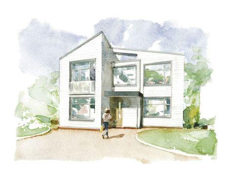 Green, House, Paint, Art, Watercolor paint, Artwork, Home, Door, Art paint, Visual arts,