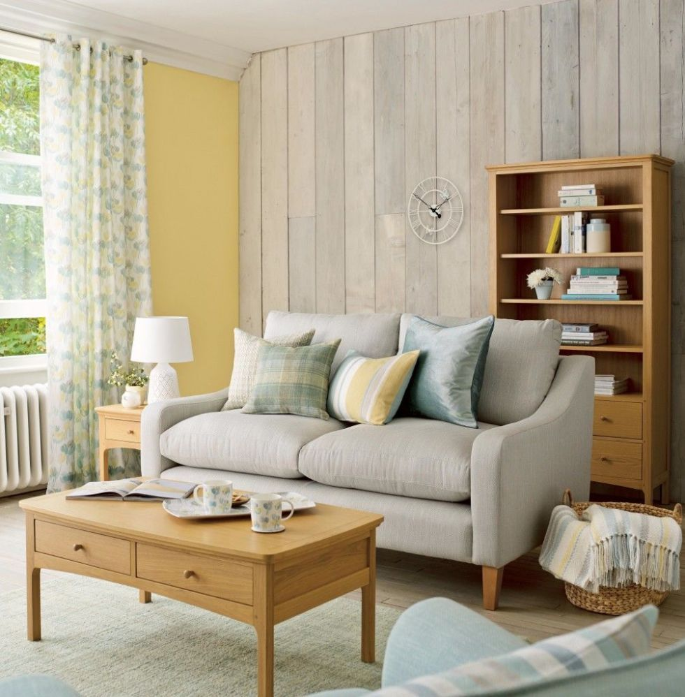 Windermere 2 Seater Sofa, £1,350; Pewter Eyelet Curtains In Ava Duck Egg,  £35 Per M; Paint, Primrose, £32 For 2.5L, All Laura Ashley
