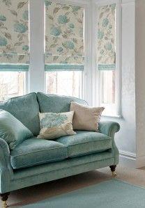 Bay window solutions roman blinds in hydrangea duck egg 34 per metre borders in dupion silk duck egg 35 per metre both laura ashley sisterspd