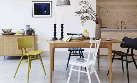 Room, Wood, Furniture, Interior design, Table, White, Wall, Chair, Home, Interior design,
