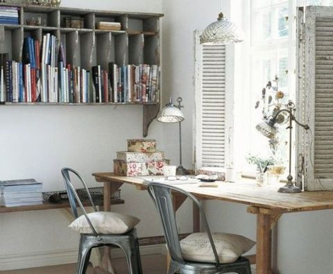 Room, Interior design, Table, Furniture, Wall, Shelving, Shelf, Publication, Bookcase, Window covering,