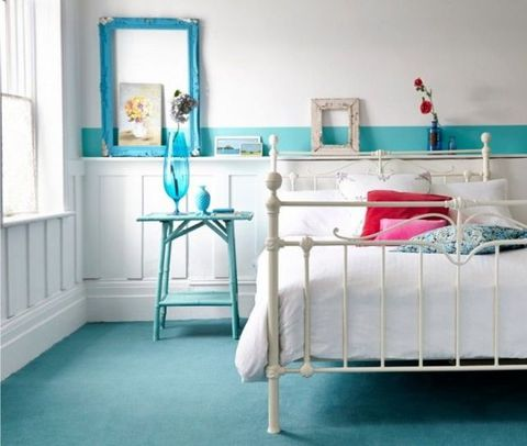 Room, Interior design, Bed, Wall, Teal, Floor, Bed frame, Turquoise, Linens, Bedding,