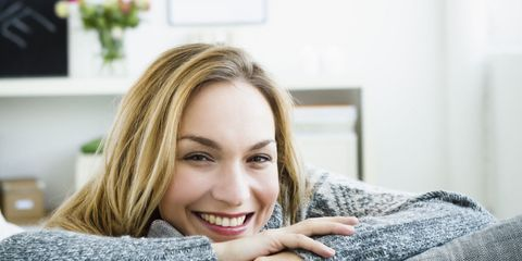 happy woman at home