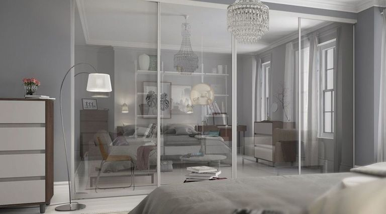 bedroom divider. glass room divider Slide your way to a whole new space with this idea