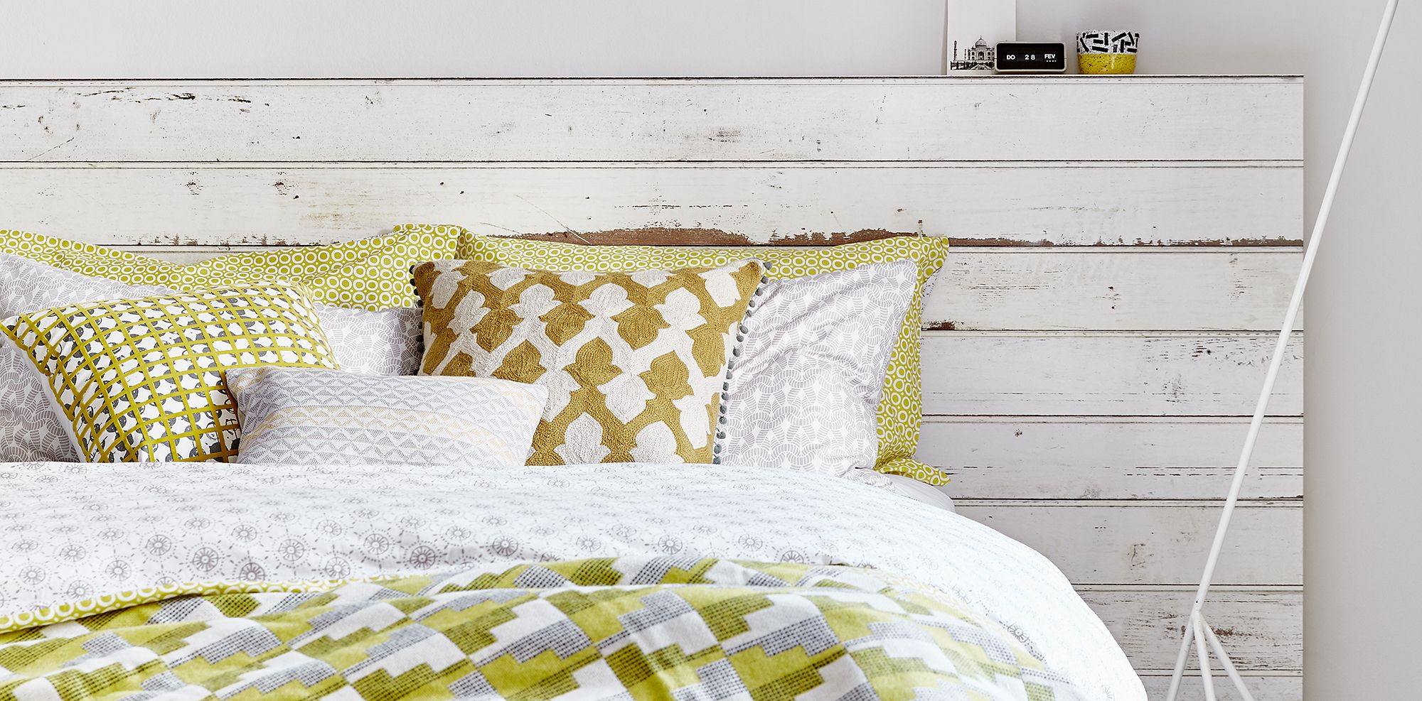 Top pin of the day A gorgeous gold and white bedroom