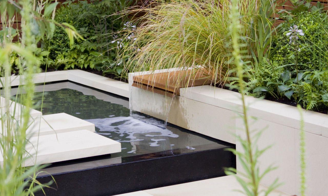Delightful Water Feature Modern Garden
