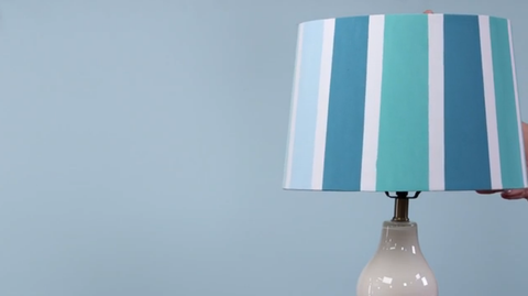Hand painted blue striped paper lampshade