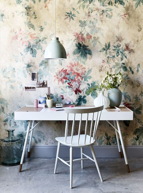 Modern floral wallpaper and furniture