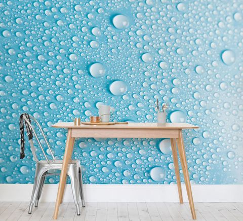Water Drops Wall Mural Wallpaper In A Living Room Setting With Table And Chairs