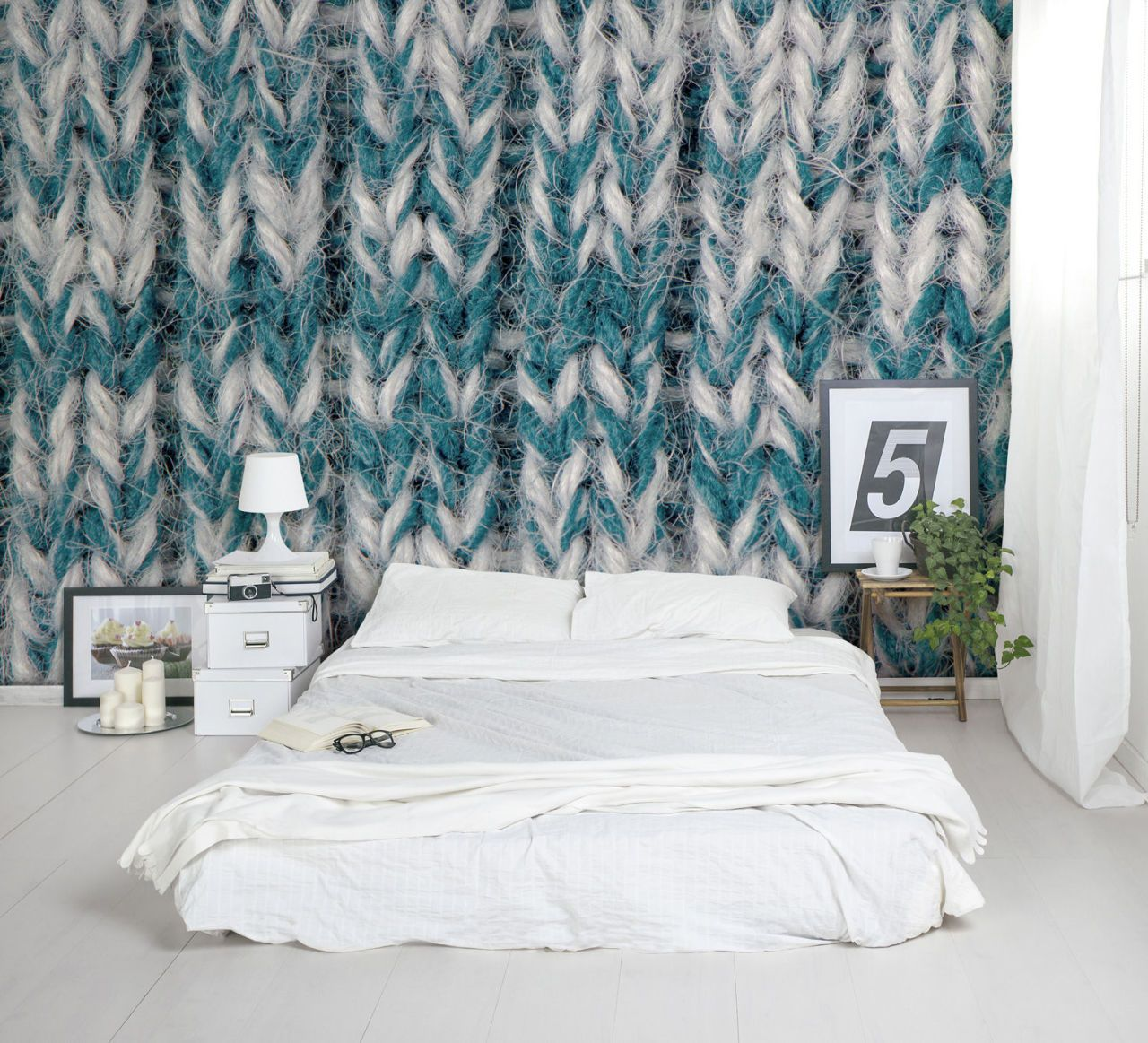 Blue And White Knit Wallpaper Mural In A Bedroom