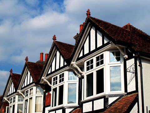 Window frames in rows of houses