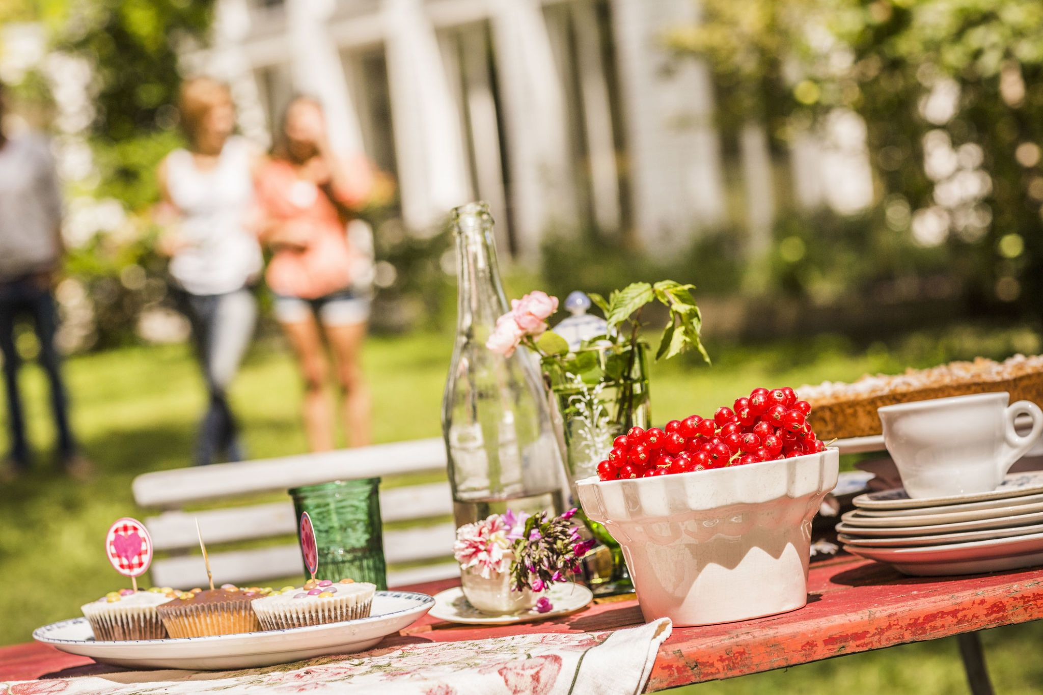 Summer Dinner Party Ideas Part - 44: Garden Party Food Table, Group Of Friends In Background