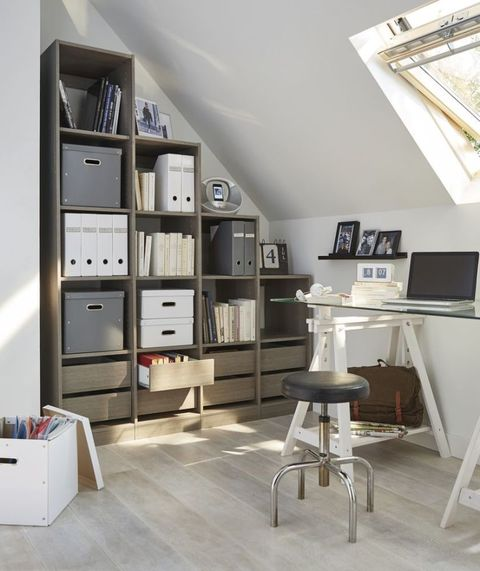 Form Perkin grey-oak effect storage system, £258, B&Q, ideal for use in an attic