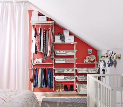 Algot wall system from Ikea perfect for storage in attic