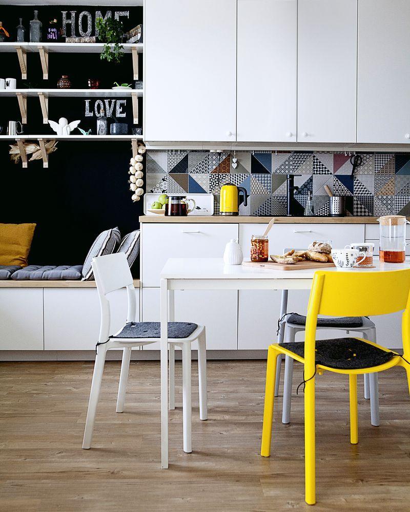 Ikea wall shelves, brackets and chairs