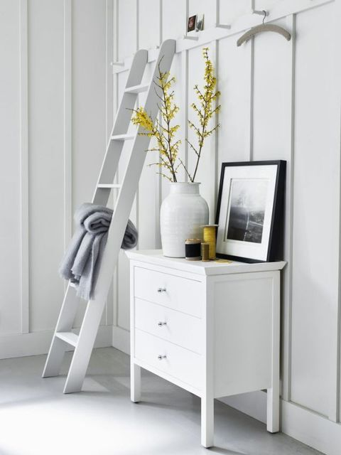 Neptune Aldwych chest of drawers in Snow £595, Stratton ladder in Lily £140, Corinium lidded jar from £48 and Whitechapel, Break of Dawn, framed print £50