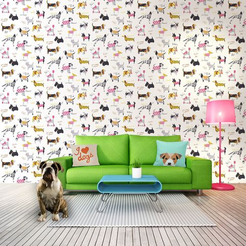 ITS A DOGS LIFE ROOMSHOT WALLPAPER