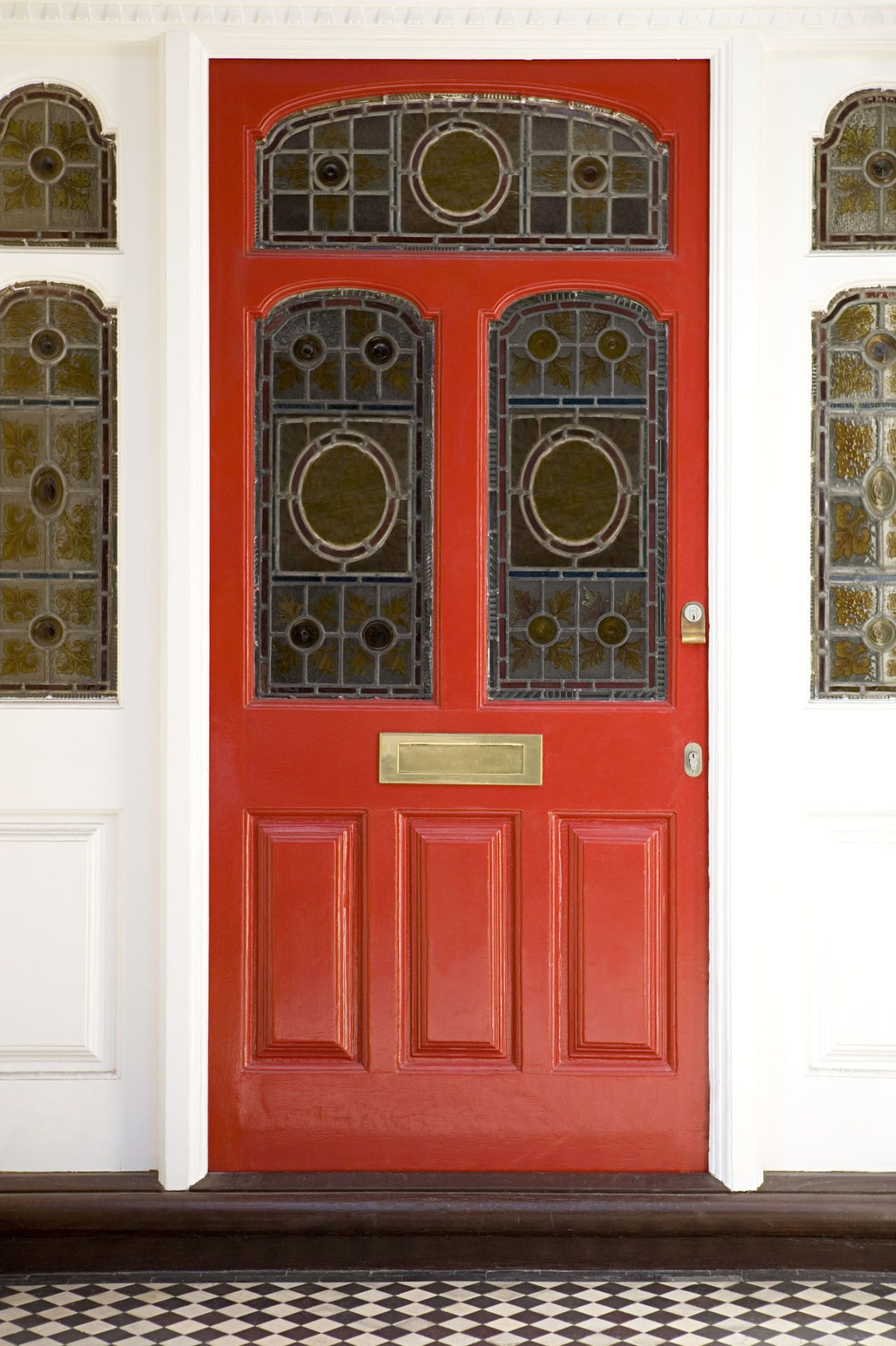 Red Front Door With Stained Glass Windows