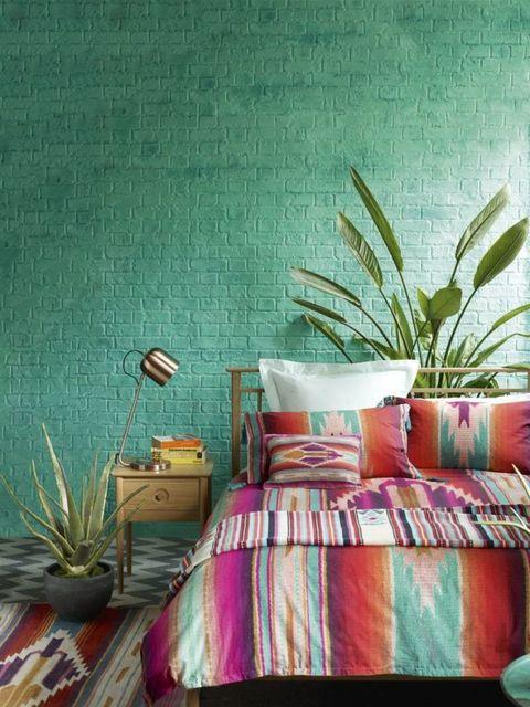 Marks and Spencer print bedlinen, Carnival fever bedroom summer scheme