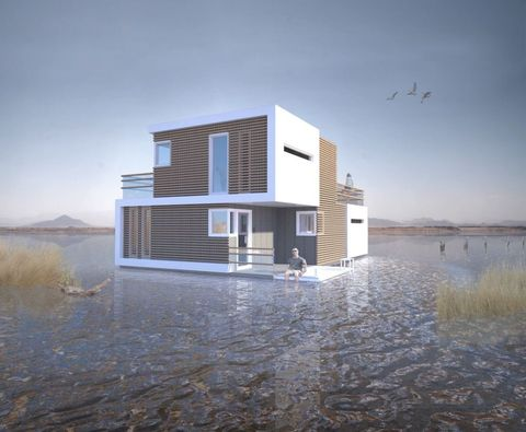 Prenuptial Housing by Studio OBA - this floating house splits in two when a couple break up