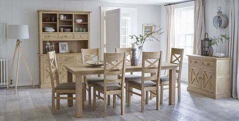 Oak Furniture Land Coastal French Washed Solid 5ft X 3ft Extending Dining Table