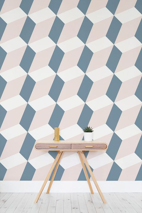 Hallway geometric wallpaper by Murals Wallpaper
