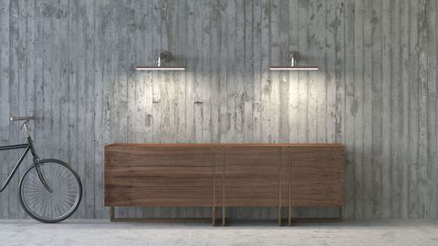 Old-fashioned sideboard in modern ambience, 3D Rendering and concrete