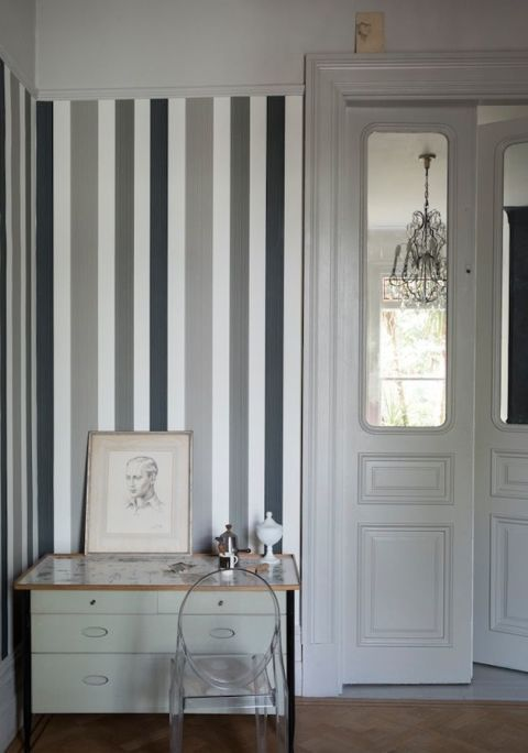 Farrow & Ball monochrome stripes