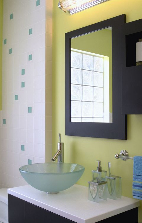 Contemporary bathroom with lime green walls