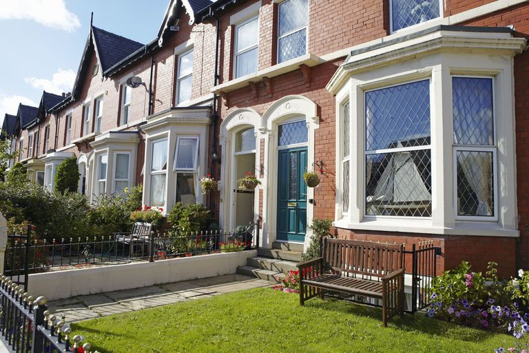 Gardens at front of victorian terraced houses