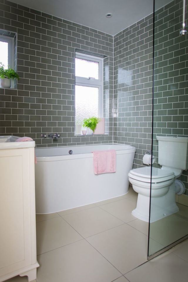 Bathroom makeover: Grey brick tiles and pink accessories