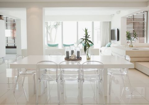 Dining room and living room of modern home