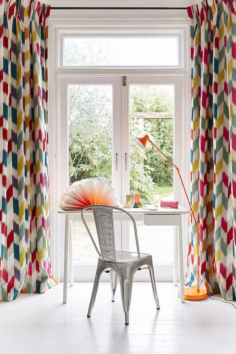 Colourful curtains in a living room