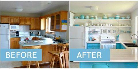 Room, Interior design, Kitchen, Turquoise, Teal, Aqua, Furniture, Countertop, Cupboard, Kitchen sink,