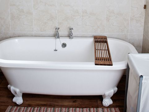 Enamel Bathtub In A Modern Bathroom