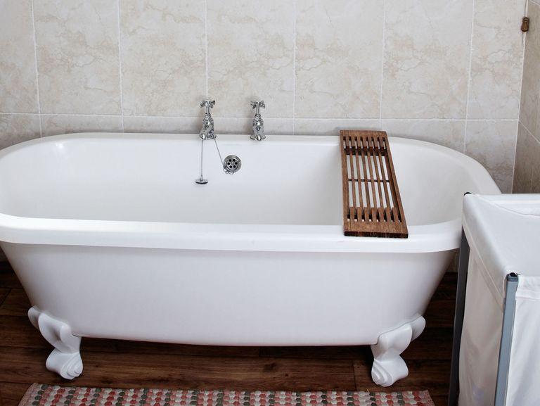 Enamel Bathtub In A Modern Bathroom