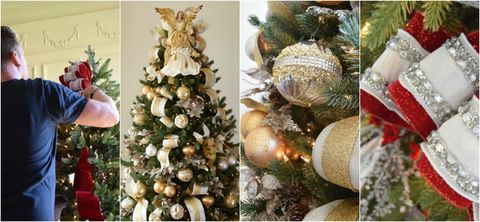 Christmas tree decorations - red, gold, silver.