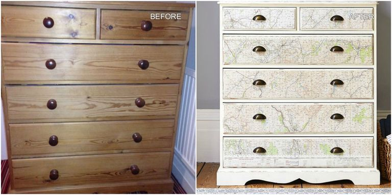 Attractive Pine chest of drawers upcycled with stylish vintage map design LZ06