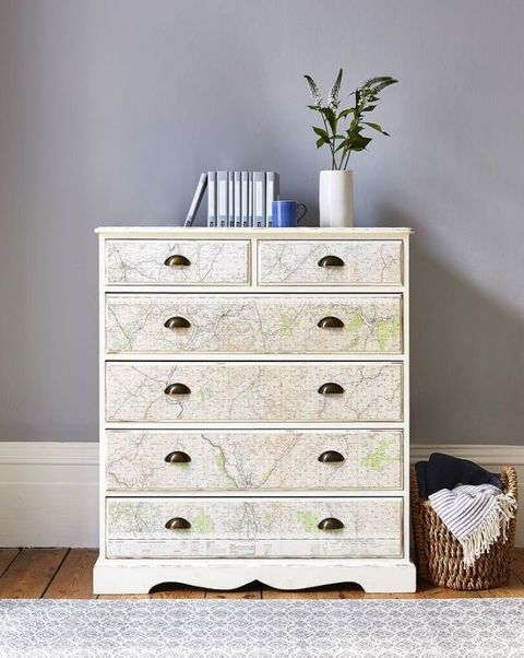 Top Pine chest of drawers upcycled with stylish vintage map design PN69