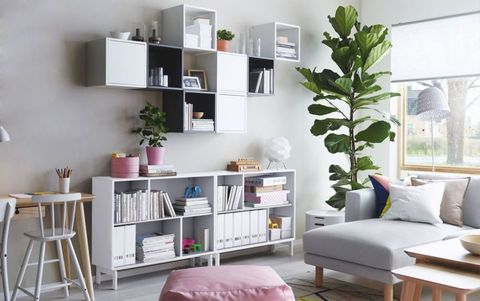 Ikea storage shelves for books and ornaments in living room