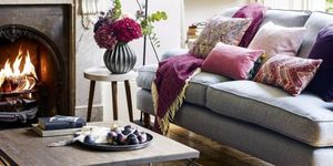 Cosy living room with plum, raspberry, rose blush and grey scheme