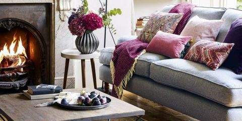 Cosy Living Room With Plum Raspberry Rose Blush And Grey Scheme